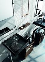 модернистични  шкафове за баня с плот технически камък